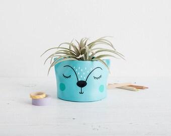 Small Succulent Planter, animal plant pot, handmade planter, pen pot, mini plant pot, cactus pot, super cute planter,folk decor, ceramic pot