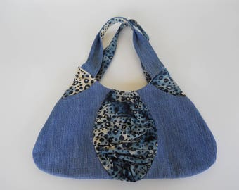 denim purse leopard print recycled denim