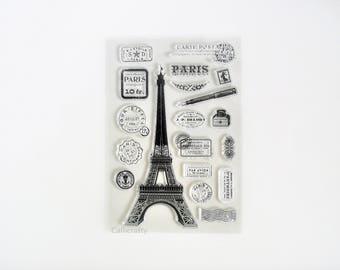 Paris Travel Transparent Stamp, Eiffel Tower Rubber Stamps, Journal Accessories - STM087