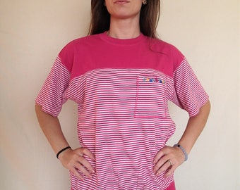 Pink striped 90s Karen Scott top