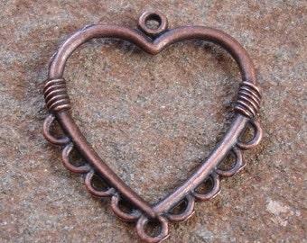 8pcs-Drop, antiqued copper pewter, 26x26mm heart.