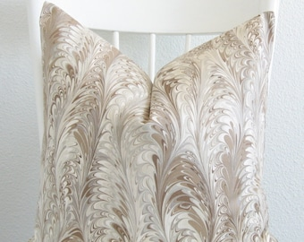 Marbleized feather taupe cream decorative throw pillow cover