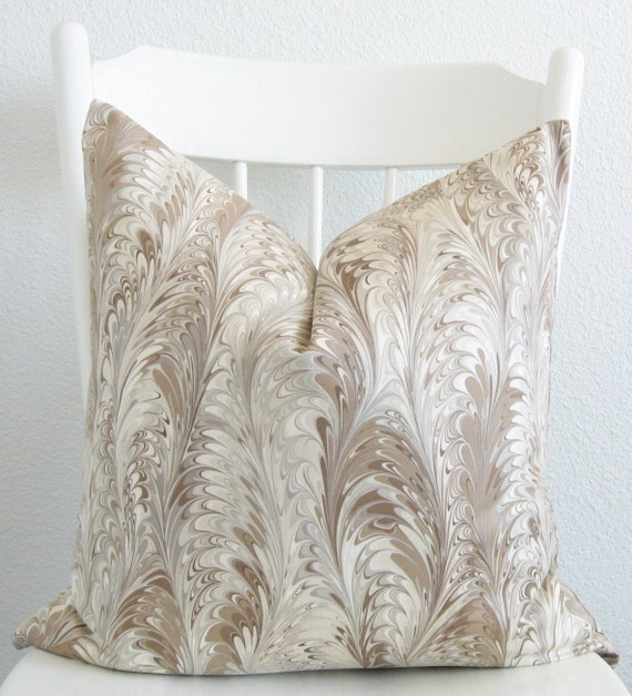 Marbleized feather taupe cream decorative throw pillow cover - Fabric for throw pillows ...