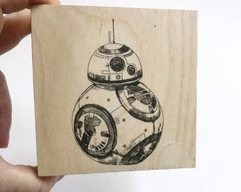 Star Wars Decor Gift BB8 Art on Wood Wall Art Star Wars Baby Nursery Art Home Decor