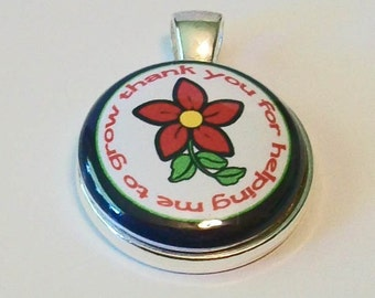 So Pretty Red and Black Thank You For Helping Me Grow Teacher Round Silver Pendant