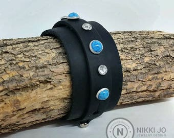 Black Leather Cuff with Turquoise & Crystals