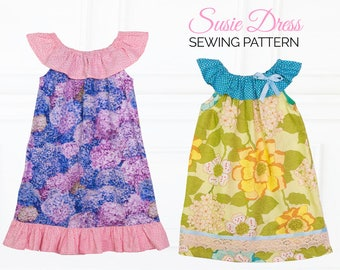 girls dress patterns, dress pattern, peasant dress pattern, beginners dress patterns, sewing pattern pdf, girls sewing pattern, SUSIE GIRLS