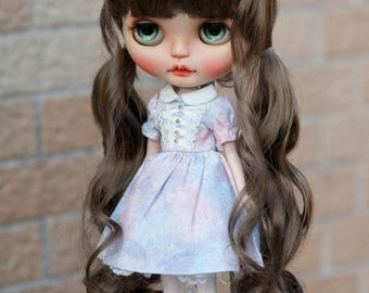 """Dark Brown Wavy Blythe Long Wig with Braids Two Ponytail and Fringe 10-11"""" Size Doll Wig"""