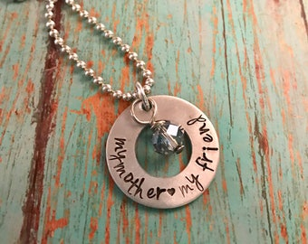 Hand stamped mother necklace gift