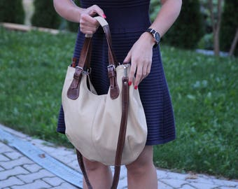 Beige LEATHER BAG Leather HOBO Bag Cross Body Leather Bag Shoulder Bag Leather Purse Women's Purse Leather Handbag Leather Market Bag