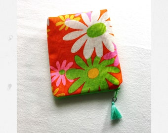 handmade small stash bag - flower party - from vintage Hawaii fabric coin purse pouch