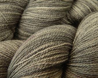 Hand Dyed Lace Yarn - Lace Weight Superwash BFL Wool Silk Yarn - Pewter - Indie Dyed Luxury Knitting Yarn, Medium Gray Yarn, Grey Yarn