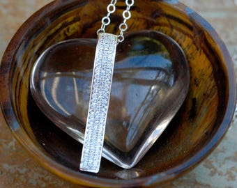 Silver Layering Choker; Sterling Silver Layering Necklace; Silver Pave Pendant; Crystal Bar Necklace; Crystal Layering Necklace