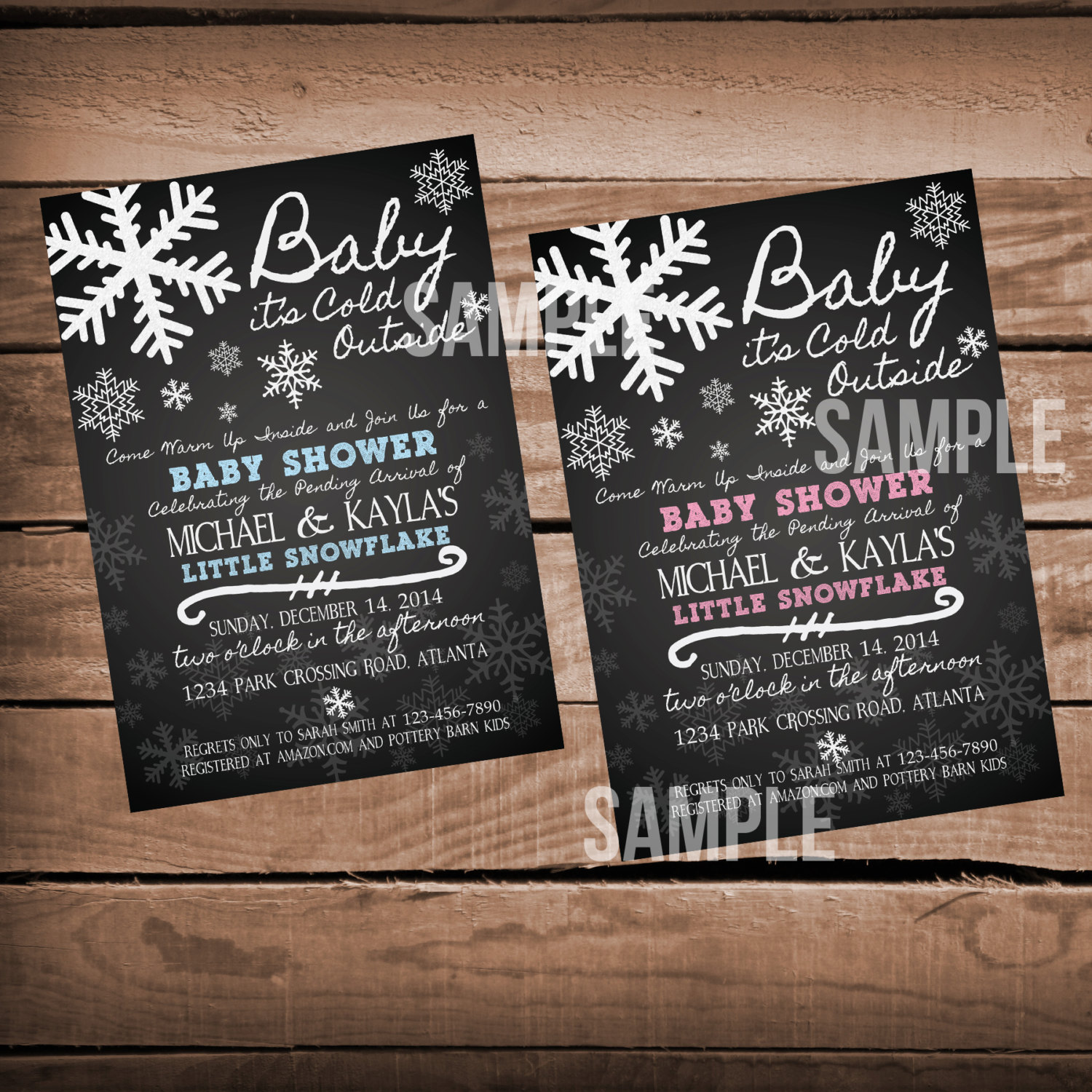 Chalkboard Baby It\'s Cold Outside Baby Shower Invitation