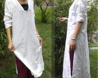 180---Linen White Tunic, Basic Blouse, Made to Measure.