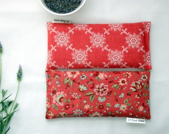 Set of 2 Eye Pillows - Lavender and Flax Seed Eye Pillows - Floral Scented Gift Relaxation Yoga Meditation