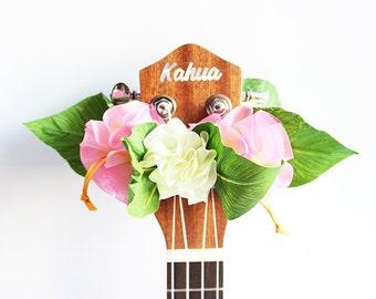ukulele lei,ukulele accessories,ukulele strap,uke,ukulele bag,ukulele case,soprano ukulele,ribbon lei,hawaiian gift,tropical,organdie pink