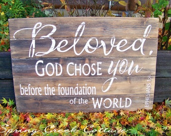 Rustic Signs, Large Scripture Signs, Word Art, Scripture Signs, Ephesians 1:4, Wood Signs, Inspirational Art, Typography, Housewarming Gifts