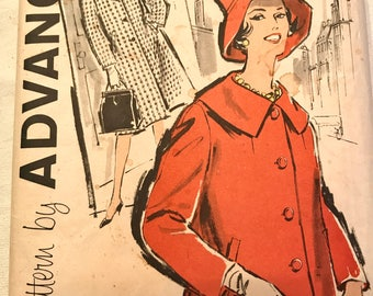 Vintage 1960's Coat Pattern---Advance 9560---Size 14  Bust 34  UNCUT