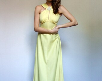Vintage Maxi Dress Yellow Dress 70s Maxi Long Yellow Dress Pearl Rhinestone Party Dress Summer Dress - Extra Small XXS