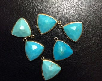 Turquoise Triangle Drop, Gold Bezel, Earring Component, 16x16x16mm