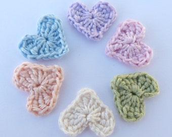 Crochet hearts, Crochet appliques, 6 pastel applique hearts, cardmaking, scrapbooking, appliques, craft embellishments, sewing accessories