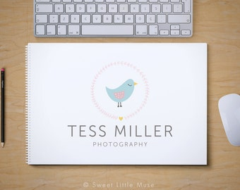 Birds Nest Logo Design - hand drawn bird logo - photography logo and watermark