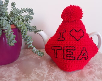 Red tea cosy - 'I love TEA' slogan - bright and chunky crochet - gift for tea lover - tea party - afternoon tea set - house warming