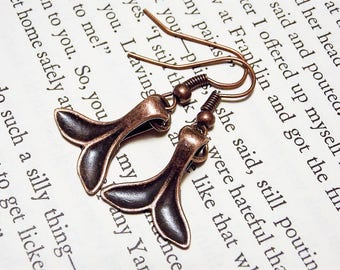 Copper Whale Tail Earrings