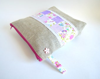PatchworkCosmetic Bag  Lilac cosmetic bag Cotton Zipper Pouch Purse Pouch Makeup Pouch Padded Zipper Pouch Pencil Case Christmas Gift Mom
