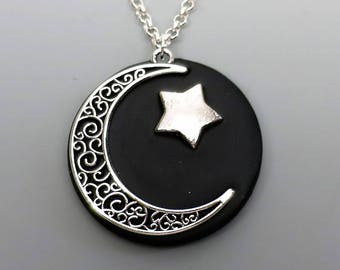 Polymer Clay Pendant, Midnight Moon Celestial Pendant in Metallic Silver and Black, Mother's Day Gift Idea