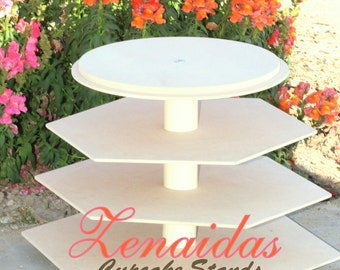 Cupcake Stand Hexagon 5 Tier with Threaded Rod MDF Wood DIY Project Donut Stand Birthday Stand Wedding Stand Display Stand