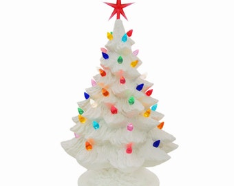 White Ceramic Christmas Tree 16 Inch Tall Tabletop Christmas is Around the Corner Holiday Traditions - Made to Order