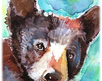 Black Bear Cub Artist Signed Watercolor Print