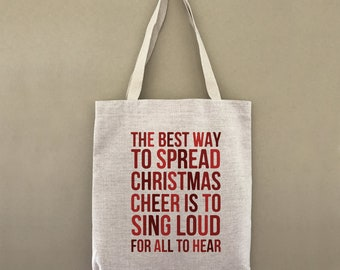 Custom Tote Bag Spread Christmas Cheer Sing Loud Elf Customizable Personalized Gift For Her Gift For Him Shopping Bulk Farmers Market