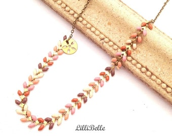 Handmade necklace and delicate brass spike - jewelry - Christmas gift idea