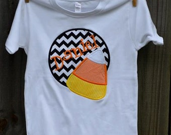 Personalized Halloween Candy Corn Patch Applique Shirt or Bodysuit for Boy or Girl