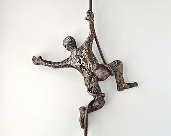 Circus acrobat sculpture, wire mesh sculpture, home decor, metal wall art,  Acrobat on aerial rope, Housewarming