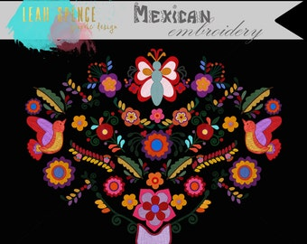 Mexican Embroidery Digital Clip Art, Wedding, INSTANT download, Hand Drawn Illustrations, PNG, Butterfly, Flower, Digital Drawing, scrapbook
