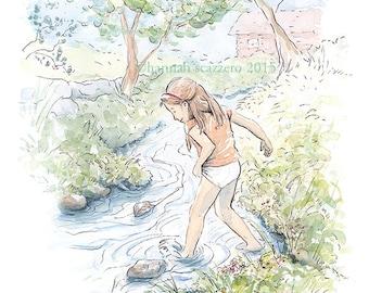 Children's Watercolor Illustration Summer Creek Fun