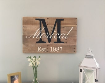 Large family name sign, Last name sign, Family name established sign, Family monogram pallet sign, wedding gift, housewarming gift
