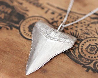 Great White Shark tooth necklace silver, shark tooth pendant, oxidized silver jewelry, mens gift recycled sterling silver, ocean necklace