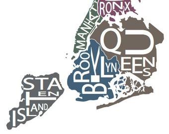 Typographic Map of New York City, New York, USA