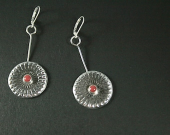 Sterling Silver Concho Earrings With Red Coral