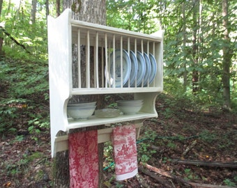 Farmhouse Plate Rack with Primitive Towel Rung Hanging Plate Rack Country Kitchen Wall Rack Handmade & Hanging Plate Rack reproduction of 18th century original