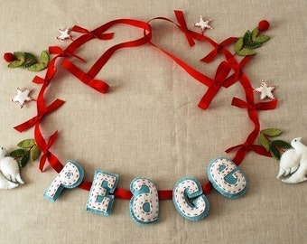 Peace Dove Felt Christmas Garland Pattern Digital Download PDF