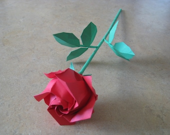 Beautifully Handcrafted Red Origami Rose