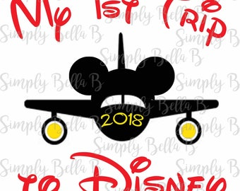 My First Trip to Disney Airplane Mickey Mouse INSTANT DOWNLOAD Printable Digital Iron-On Transfer Design - DIY - Disney Vacation