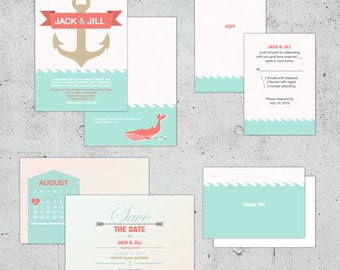 Nautical Wedding Set | Printable DIY | Color Customizable
