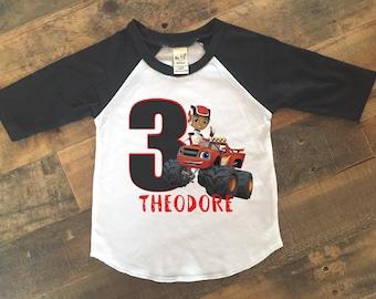 blaze shirt, blaze birthday shirt, blaze boy shirt, blaze 3rd birthday shirt, blaze birthday, blaze and the monster machines shirt